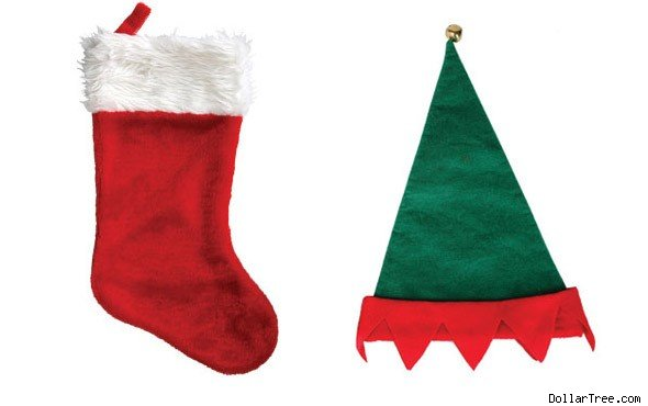 Dollar Store Stocking and Elf Hat