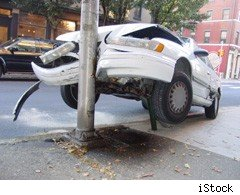 Car crashed into lamppost