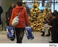 shoppers at Christmas