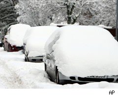 Snow covering cars