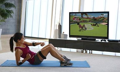 Woman doing sit ups to games console