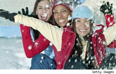 Group of women happy in snow