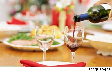Wine on Christmas table