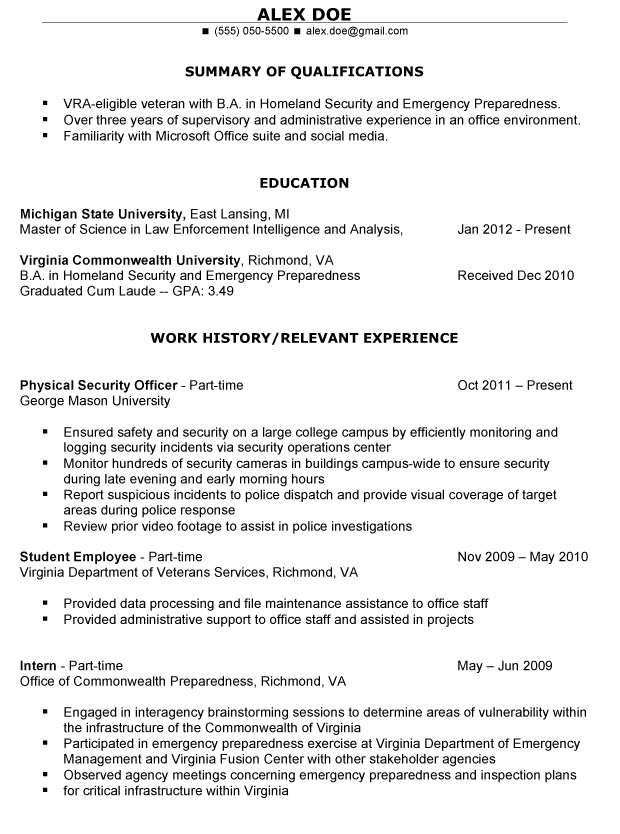Example Veteran Resume Sample Veteran Resume