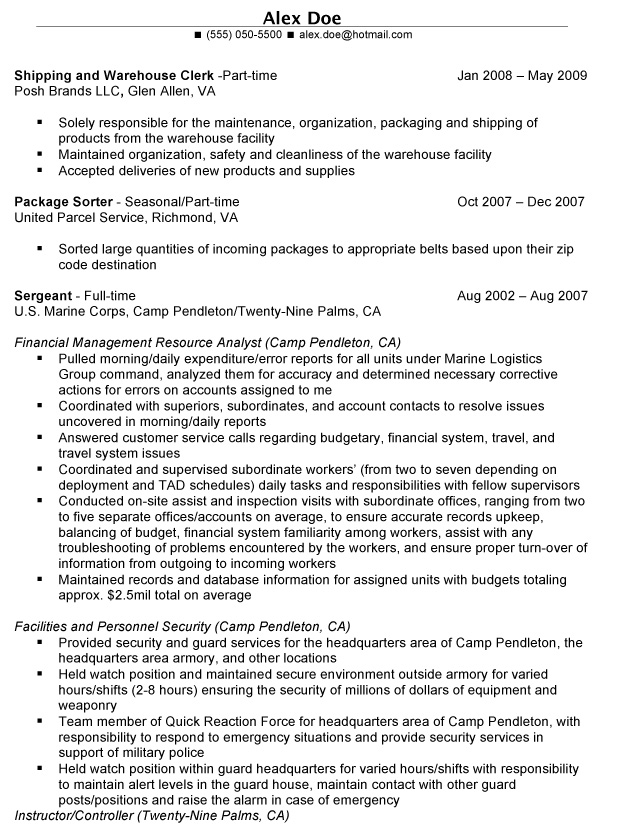 military to civilian resume examples military to civilian resume