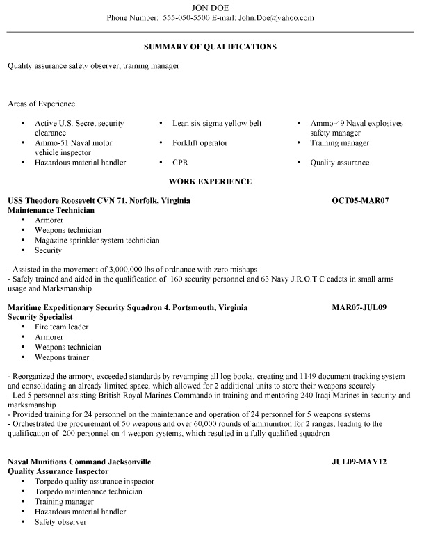 Resume Examples Veterans Resume Help For Veterans ...