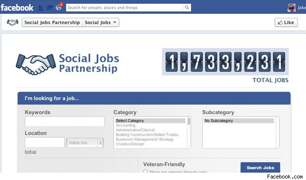 Facebook job search app