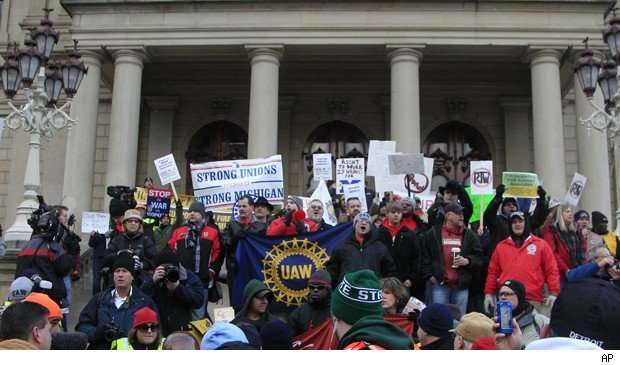 Michigan teachers join union protest.