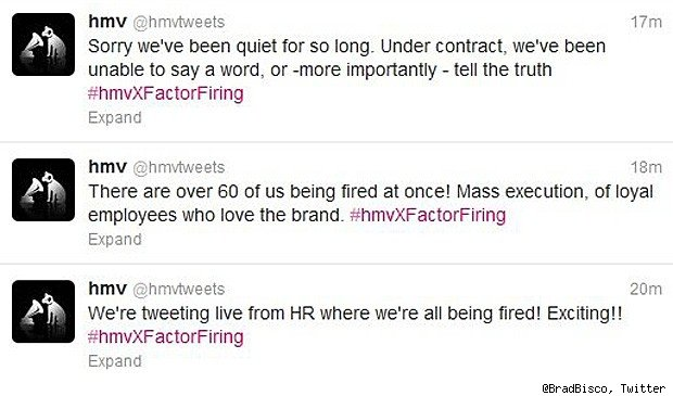 hmv layoffs twitter