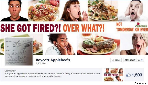 Applebees boycott on Facebook