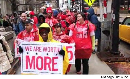 Chicago fast-food and retail workers walk out in strike.