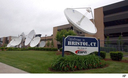 Satellite dishes outside of ESPN headquarters in Bristol, Conn.