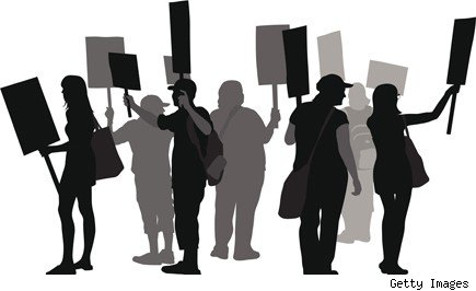 photo illustration of picketers holding signs