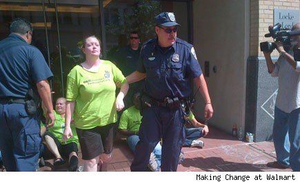 Ten protesters are arrested outside Walmart in Washington D.C.
