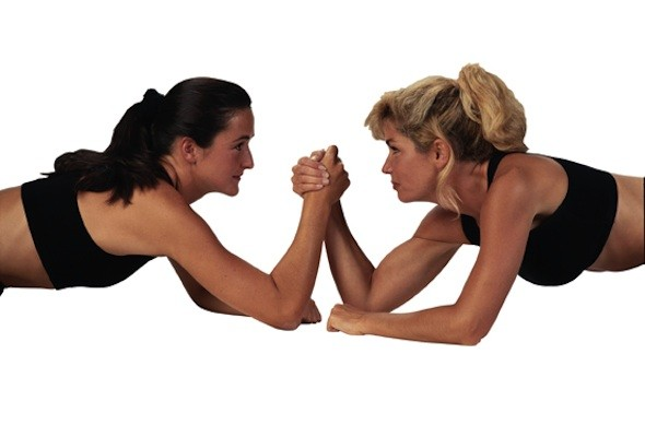 Arm wrestle a colleague