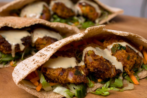 Falafel and pitta sandwich