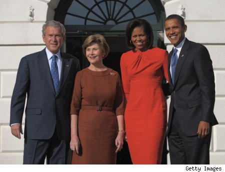 michelle obama with president elect barack obama, and president bush, first lady laura bush
