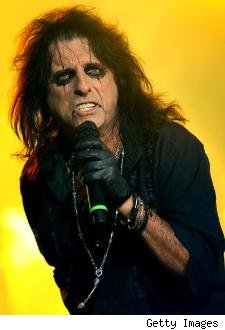Alice Cooper at a concert in his characteristic face paint