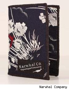 Narwhal Company wallet made from a recycled necktie