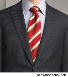 a less expensive Brioni grey pinstripe suit at Nieman Marcus