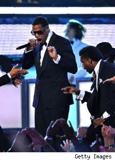 Jay-Z raps at the 2009 Grammy Awards