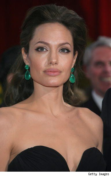angelina jolie in emerald earrings