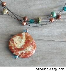 Imperial Turquoise and Brown Jasper Braided Style Pendant Necklace by minaude.etsy.com