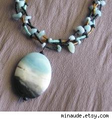 Blue and Black Amazonite Three Strands Pendant Necklace by minaude.etsy.com