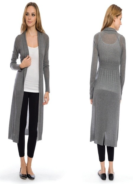 Qi Silk Cashmere Back Waisted Duster Cardigan