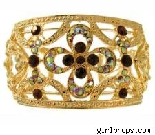 Wide Filigree Cuff with Rhinestones in Amber with Gold finish