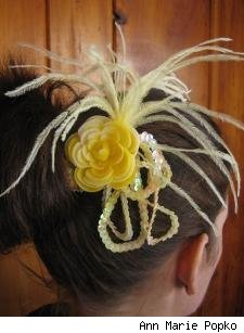 Fancy Fascinator, Yellow Vintage Flower with Ostrich Feathers and Sequins