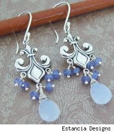 Pale Blue Natural Chalcedony Faceted Pears and Tanzanite Faceted Rondelles Sterling Silver Fleur De Lis Chandelier Earrings by Estancia Designs