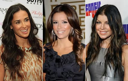 demi moore eva longoria fergie long hair