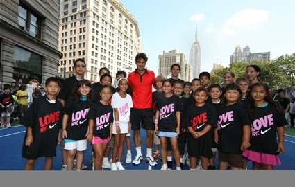 Roger Federer with New York Junior Tennis League