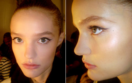 Model's makeup at Badgley Mischka Spring 2010 Show