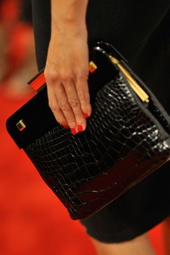 A luxury crocodile clutch on the red carpet.