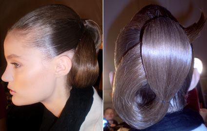 Model's hair at Badgley Mischka Spring 2010 Show