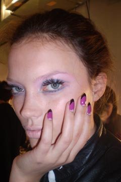 Model's makeup and nails at Ruffian Spring 2010 show