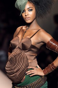 Jourdan Dunn walks for Jean Paul Gaultier.
