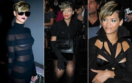 Rihanna attends Paris Fashion Week.