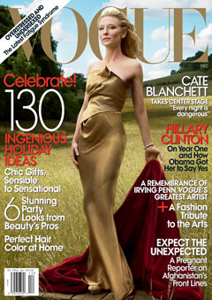 Cate Blanchett on the December cover of Vogue.