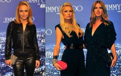 Hayden Panettiere, Paris and Nicky Hilton at the Jimmy Choo for H&M launch party.