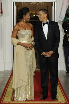The Obamas at the White House state dinner.