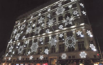 Saks Fifth Avenue holiday snowflakes.