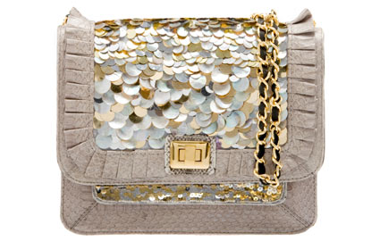 angel jackson snakeskin mother-of-pearl sequin bag
