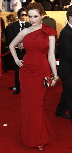 christina hendricks red dress 2010 SAG Awards bow