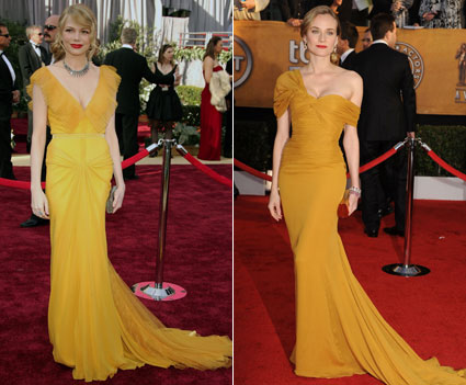 michelle williams 2006 Oscars diane kruger 2010 SAG Awards mustard yellow dresses