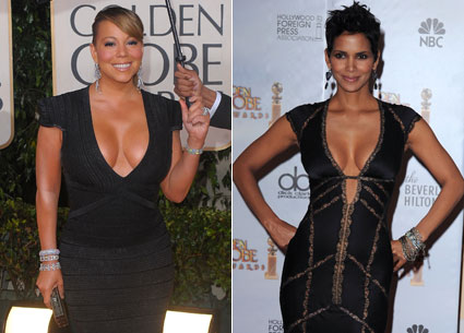 Mariah Carey halle berry cleavage low-cut dresses golden globes 2010