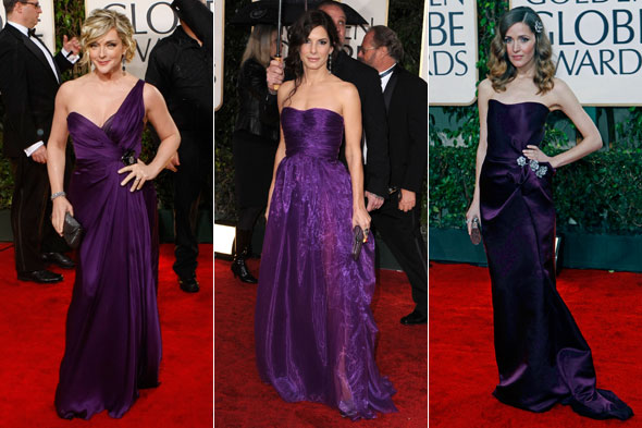 golden globes purple dresses jane krakowski sandra bullock rose byrne