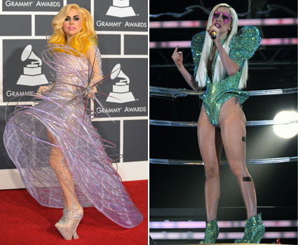 Grammys 2010 lady gaga space-age dress green glitter bodysuit onstage